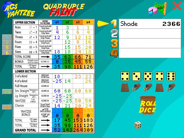 Screenshot of AGS Yahtzee