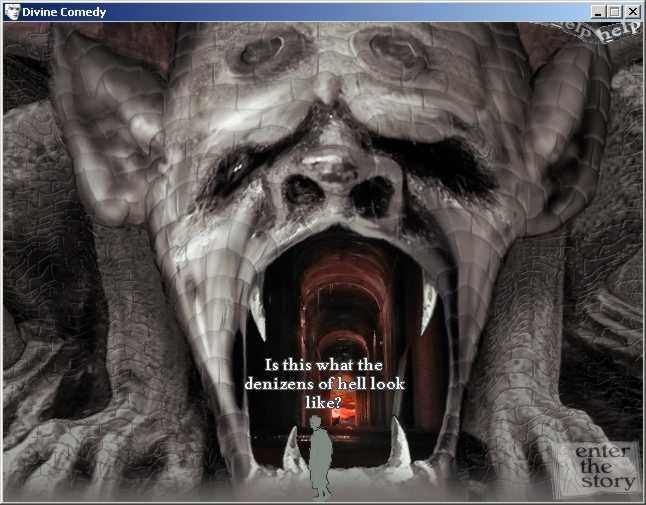 Zoomed screenshot of Dante's Divine Comedy (a.k.a. Dante's Inferno)