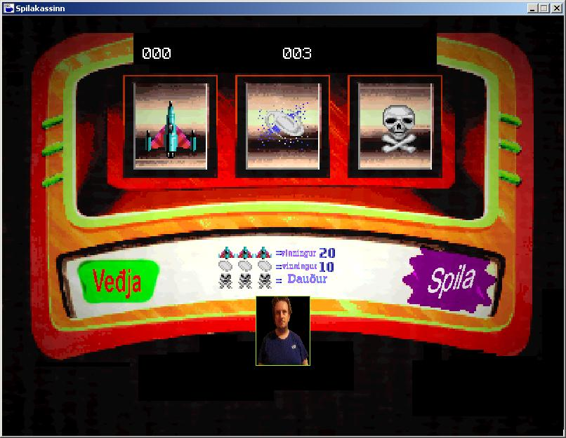 Zoomed screenshot of Spilakassinn  ( A slot machine game)