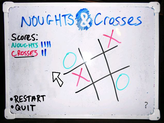 Zoomed screenshot of Noughts & Crosses