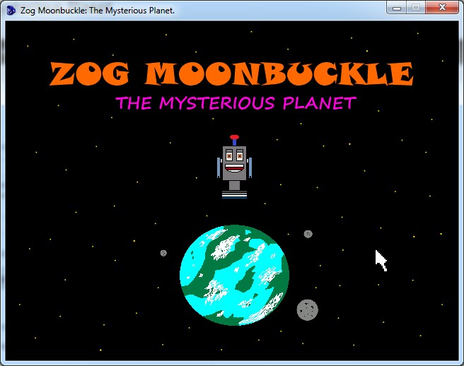 Zoomed screenshot of Zog Moonbuckle: The Mysterious Planet.