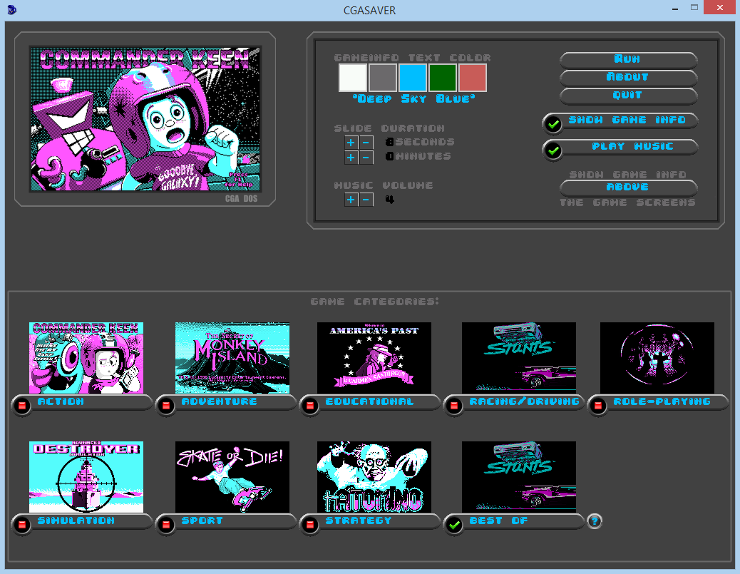 Screenshot of CGA games screensaver