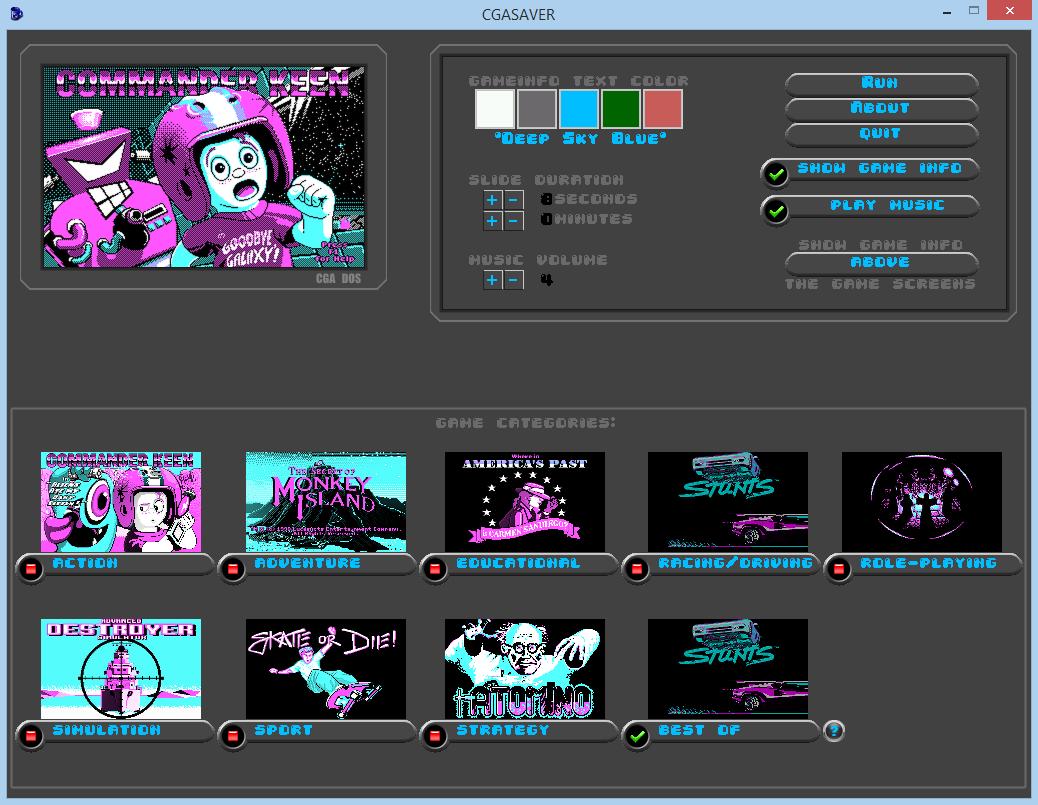 Zoomed screenshot of CGA games screensaver