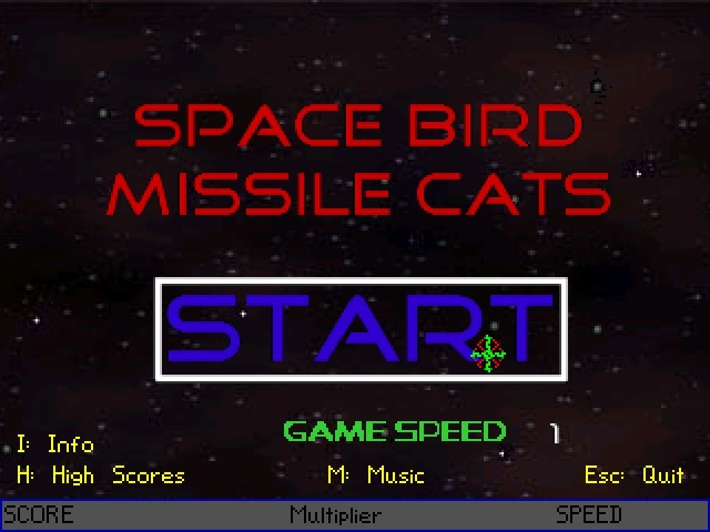 Zoomed screenshot of Space Bird Missile Cats
