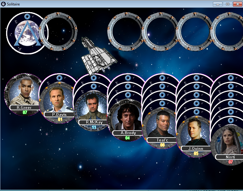 Zoomed screenshot of Stargate Solitaire