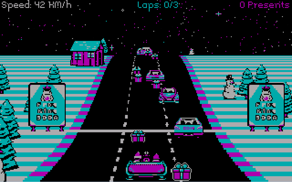 Zoomed screenshot of CGA: Christmas Game Arcade