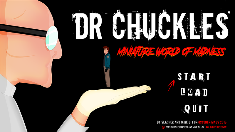 Screenshot of Dr. Chuckles' miniature world of madness.