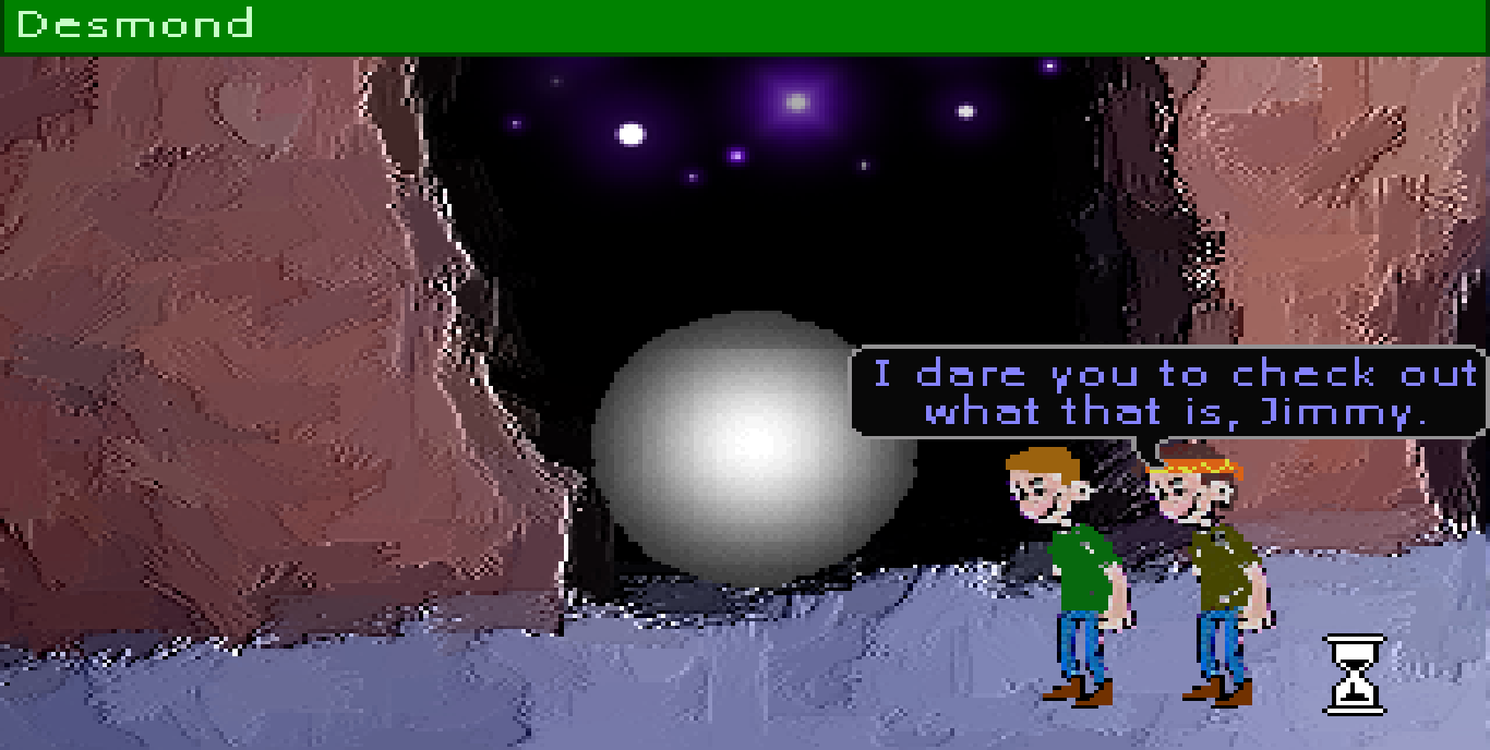 Zoomed screenshot of Desmond: The 'Thing' from another world!