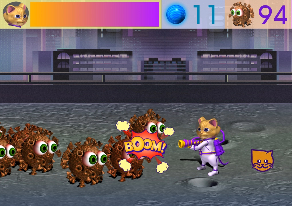 Zoomed screenshot of Space Cat vs Virus