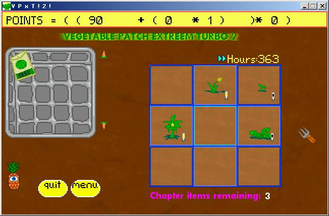 Zoomed screenshot of Vegetable Patch Extreem Turbo 2