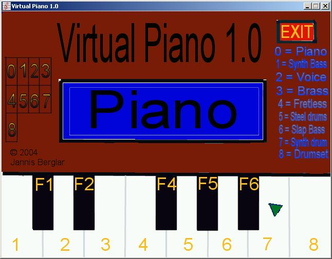 Zoomed screenshot of Virtual Piano 1.0