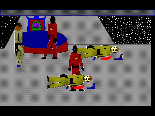 Zoomed screenshot of Spacewar episode 2 ( Curien strikes back)